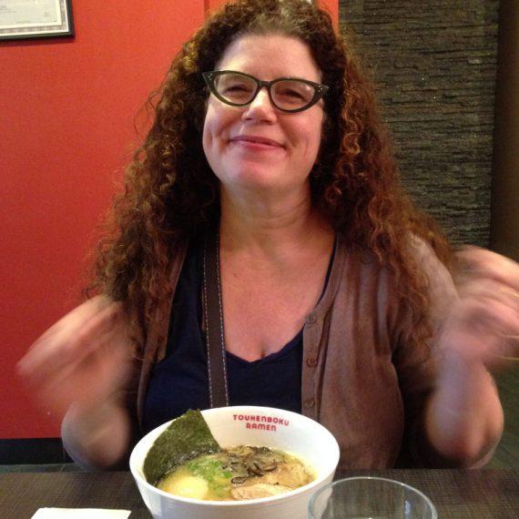 Jillian eating noodles